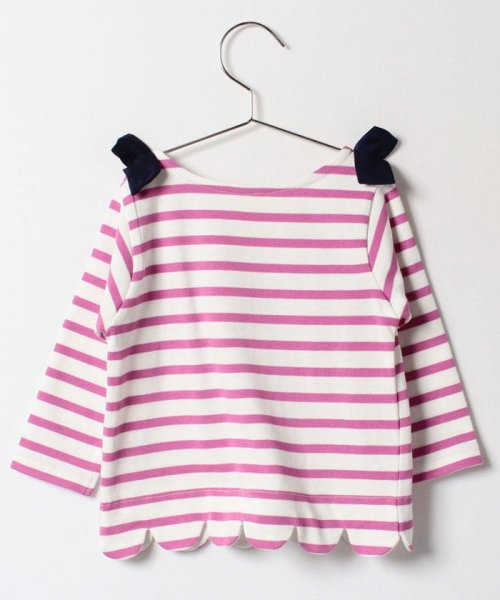 petit main(プティマイン)/肩リボンつき裾スカラップボーダー柄Tシャツ/9671215_img01
