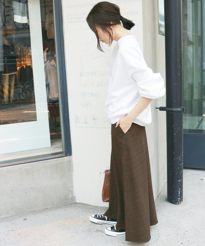 茶色 チェック マキシ丈 フレアスカート