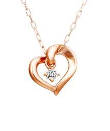 4℃/K10ピンクゴールドハートダイヤモンドネックレス/001264798
