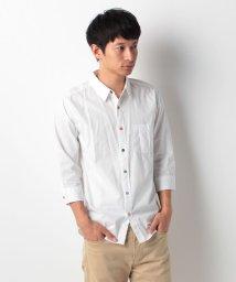 WEGO/ホワイトデザイン7分袖シャツ/001220803