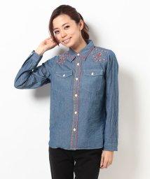 coen/【Market】シャンブレー刺繍ワークシャツ/001330256