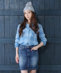 AZUL by moussy/インディゴチェックWポケ長袖T/Bシャツ/001436308