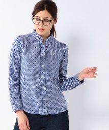 coen/ダブルガーゼギンガムチェック×ドットボタンダウンシャツ/001615060