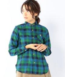 coen/ダブルガーゼヘリンボンチェックボタンダウンシャツ/001674350