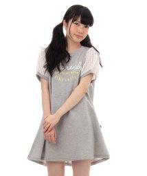 PINK-latte/シースルースリーブ裏毛ワンピース/001818553