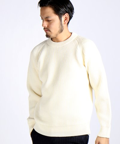 BRITISH WOOL混 ワッフル CREW KNIT MADE IN JAPAN