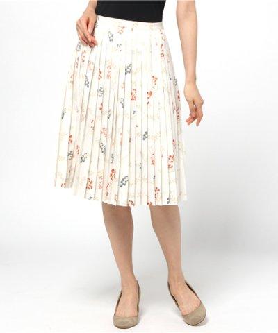 レトロ花柄プリーツスカート