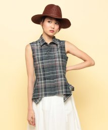 beautiful people/s/c check sleeveless peplum shirt/001782441