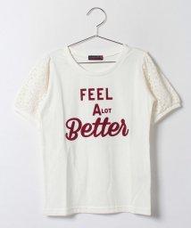 Lovetoxic/袖レース切り替えロゴプリント入りTシャツ/001837549