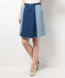 Ray Cassin /デニム配色切替台形スカート/001841656