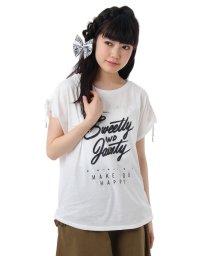 PINK-latte/袖絞りロゴカットソー/001852211