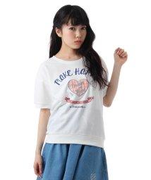 PINK-latte/チェックハートアップリケドロップショルダーTシャツ/001852215