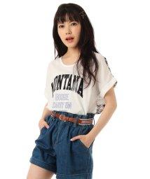 PINK-latte/ロゴプリントバック柄切り替えTシャツ/001855184