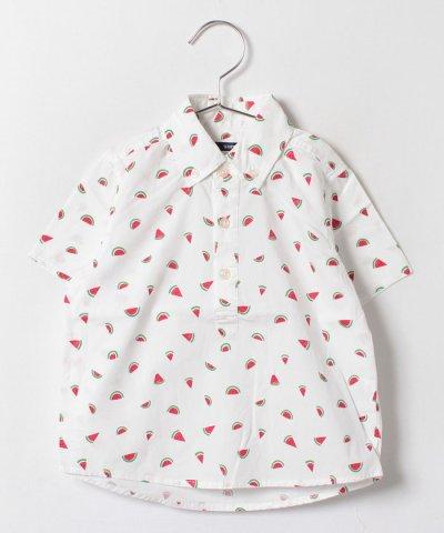SHIPS KIDS:スイカ プリント ボタンダウン シャツ(100~130cm)