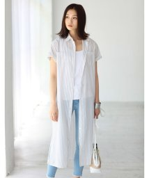 AZUL by moussy/スリット入りマキシ半袖シャツ/001889996