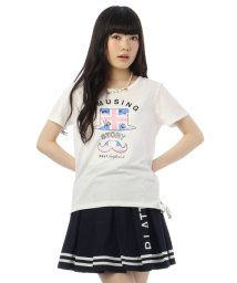 PINK-latte/サイドリボンプリントTシャツ/001933532