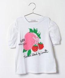 byLOVEiT/ベリープリント入りパフスリーブTシャツ/001943489