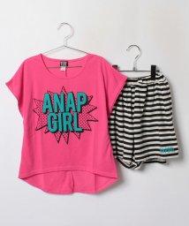 ANAP GiRL/アメコミロゴTシャツ×ボーダーショートパンツ SET/001948231