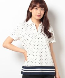 TOMMY HILFIGER WOMEN/CLARA SMALL BORDER PRT POLO SS/001957785