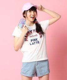 PINK-latte/発泡ロゴTシャツ/001971090