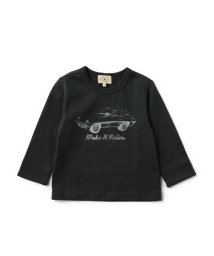 green label relaxing (Kids)/【BABY】コットン モノトーンCARプリント Tシャツ ロングスリーブ/001969694