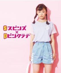 PINK-latte/spinnsコラボワッペンTシャツ/001975682