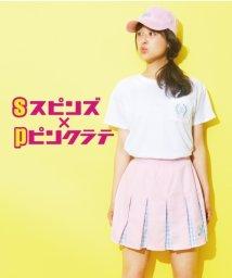 PINK-latte/spinnsコラボエンブレムポケットTシャツ/001975685