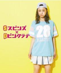 PINK-latte/spinnsコラボメッシュTシャツ/001975688