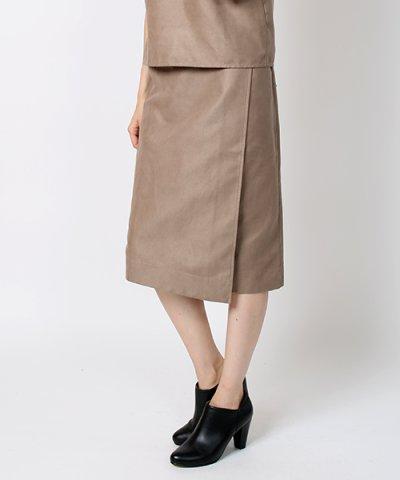 フェイクレザーラップスカート