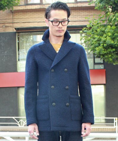 BOUCLE WOOL KNITTED PEA COAT