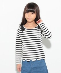 petit main/ボーダー裾スカラップTシャツ/001991602
