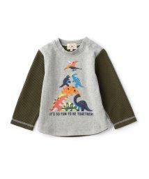 green label relaxing (Kids)/【BABY】コットン カラフルダイナソープリント ロングスリーブ/002010400