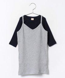 petit main/テレコキャミワンピース×無地Tシャツセット/002000182