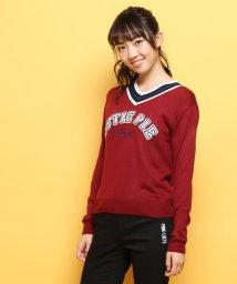 PINK-latte/ロゴ刺しゅうVネックニット/002033208