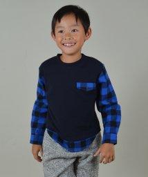 SHIPS KIDS/SHIPS KIDS:スウェット×シャツ コンビ クルーネック 《ネイビー》(100~130cm)/002042230