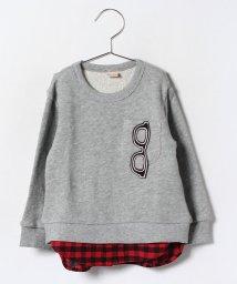 petit main/メガネ裾チェックトレーナー/002037314