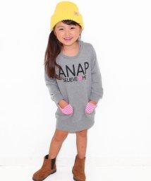 ANAP KIDS/ボーダーリボン&ポケット付 フーディーワンピース/002034284