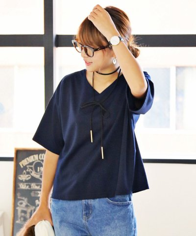 2016秋冬新作♪Tシャツ レディース 半袖 5分袖 ポンチ素材 ボックスTシャツ Vネック