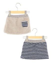 SHIPS KIDS/SHIPS KIDS:ボーダー×ボア リバーシブル スカート(80~90cm)/002046581