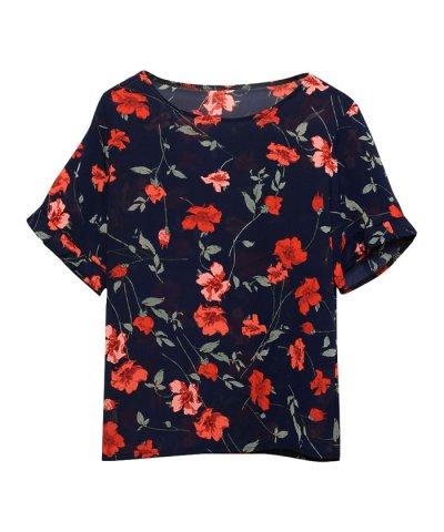 花柄袖フリルトップス