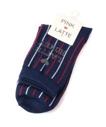 PINK-latte/配色ストライプソックス/002053727