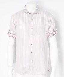 NICOLE CLUB FOR MEN/ストライプ柄5分丈ボタンシャツ/002125644