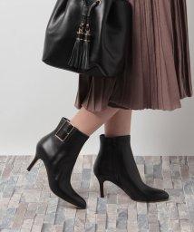 PELLICO/バックル付ショートブーツ(ブラック/ヒール8cm)/002075701