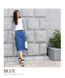MODE ROBE/ミディ丈 カットオフデニムスカート/001866652