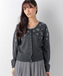 axes femme/雪刺繍ニットカーデ/002145832