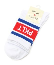PINK-latte/配色ラインロゴリブソックス/500061533