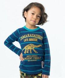F.O.KIDS / F.O.KIDS MART/先染めボーダー恐竜Tシャツ/500058345