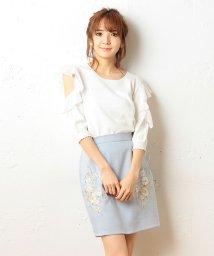 MIIA/カラー刺繍タイトスカート/500073349