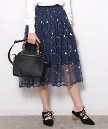ViS/【セットアップ対応商品】チュール刺繍ギャザースカート/500087521