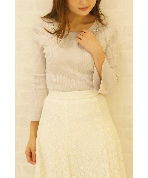 PROPORTION BODY DRESSING(プロポーション ボディドレッシング)/シャイニージュエルベルスリーブニット/1217170102